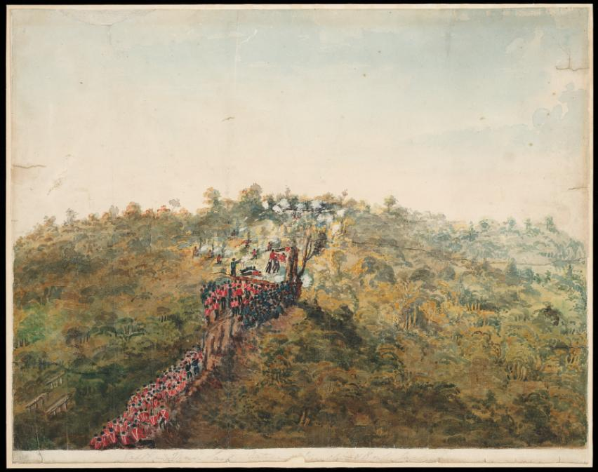 Battle Hill 1846 - Troops advancing up Battle Hill to attack Rangihaeata's men - Alexander Turnbull Library