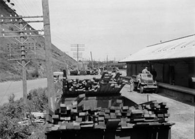 Timber at Paekakariki Station for US servicemen's camps - Alexander Turnbull Library