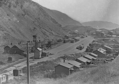Northern view of Paekakariki Railway Yards showing employee houses 1910 - Alexander Turnbull Library