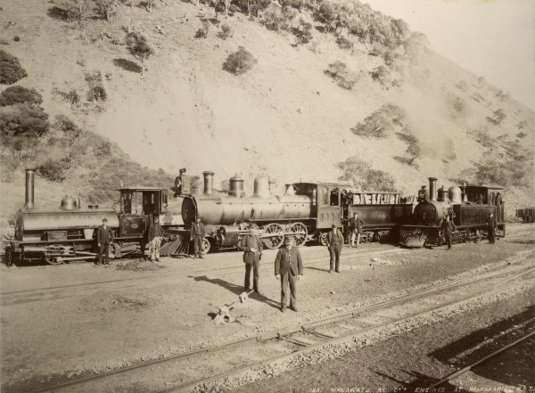 Wellington Manawatu Railway Company's locomotives and crew at Paekakariki c 1887