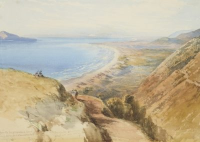 Horokiwi Road looking down to Paekakariki 1868 by Nicholas Chevalier - Te Papa