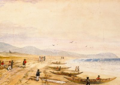 View looking south along Paekakariki Beach, Between 1842 and 1845 - Alexander Turnbull Library