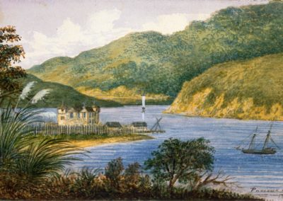 Charles Gold's 1858 drawing of Paremata Barracks in Porirua Harbour - Alexander Turnbull Library