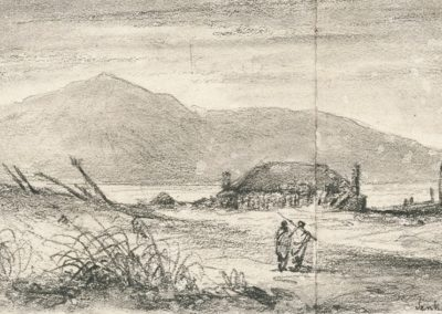 Kapiti from Jenkins House at Waikanae 1849 - Alexander Turnbull Library
